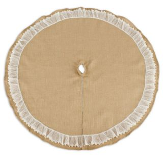 Burlap Round Tree Skirt with Ruffled Lace by Brite Ideas Living