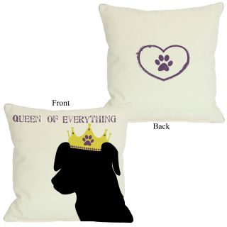 One Bella Casa Doggy Décor Queen of Everything Lab Throw Pillow
