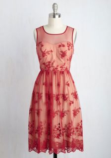 Cherished Charm Lace Dress in Red  Mod Retro Vintage Dresses