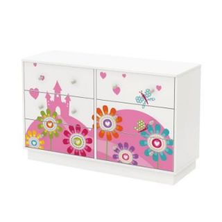 South Shore Joy 6 Drawer Double Dresser with Flowers and Castle Ottograff Decals in Pure white 8050009K