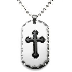 West Coast Jewelry Stainless Steel Antiqued Edge Cross Dog Tag