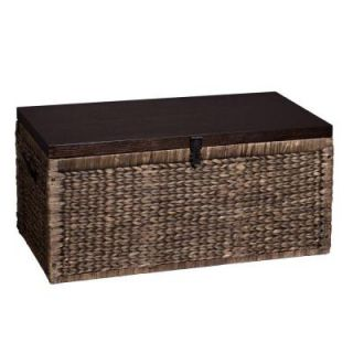 Southern Enterprises Water Hyacinth Storage Trunk Rectangular Black/ Espresso Accent Table HD864570