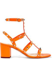 Studded neon leather sandals  Valentino