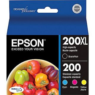 Epson 200XL/200 High Yield Black & Standard Color C/M/Y Ink Cartridges (T200XL BCS), Combo 4/Pack