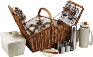 Picnic at Ascot Huntsman Basket for 4 w/ Coffee Service  London   Willow/Cream