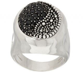 As Is Michael Dawkins Starry Night Sterling & Pave Black Spinel Ring —