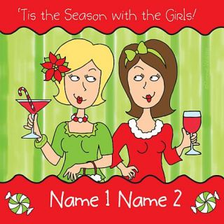 Personal Creations Personalized 'Tis the Season with the Girls Coasters   2 Names   7646119
