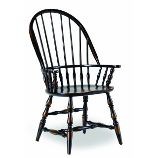 Hooker Furniture 3005 75320 Sanctuary Windsor Arm Chair in Ebony   Set of 2