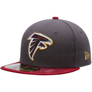 Atlanta Falcons New Era Youth Gold Collection On Field 59FIFTY Fitted Hat   Graphite/Red