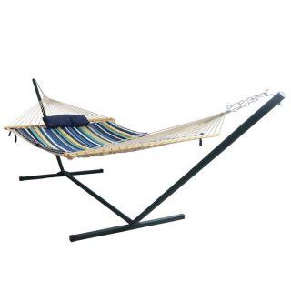 Island Retreat Hammock Set with Blue Stripe Pad   17209239
