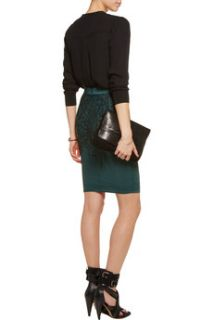 Anissas printed stretch tulle and satin jersey skirt