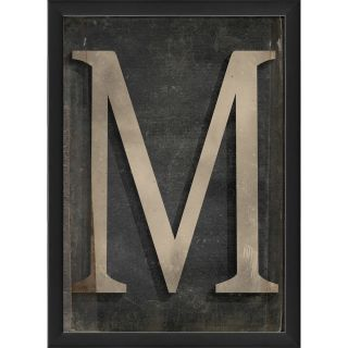 The Artwork Factory Letter M Framed Textual Art in Black and Gray