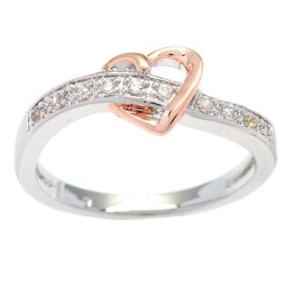 Kate Bissett Silvertone Rose Gold Plated Heart Cubic Zirconia Cocktail