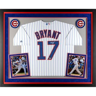 Kris Bryant Chicago Cubs  Authentic Deluxe Framed Autographed White Replica Jersey