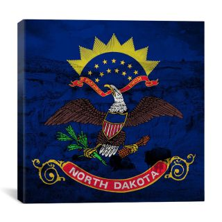 North Dakota Flag, Bison Grunge Graphic Art on Canvas by iCanvas