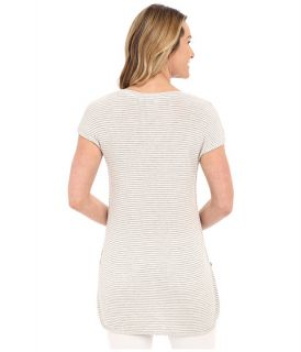 B Collection By Bobeau Jamie Stripe Tunic W Side Slit Grey