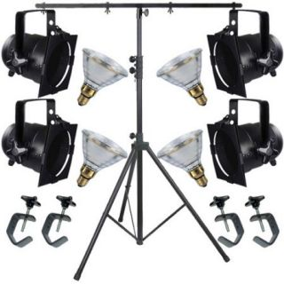 4 Black Short PAR CAN 38 120w PAR38 Spot C Clamp Stand 4516