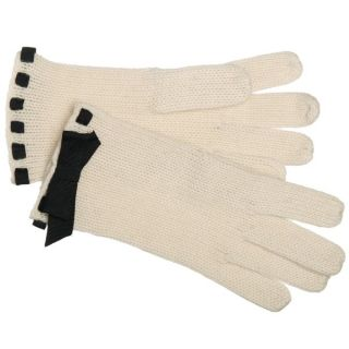 Portolano Womens Ivory/ Black Cashmere Bow Gloves   13585021