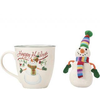Pfaltzgraff Winterberry Mug with Stuffed Snowman Ornament —