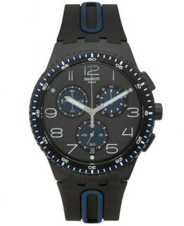 Swatch Unisex Swiss Chronograph Power Tracking Black and Blue Silicone