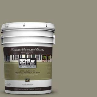 BEHR Premium Plus Ultra 5 gal. #N350 5 Muted Sage Semi Gloss Enamel Exterior Paint 585405
