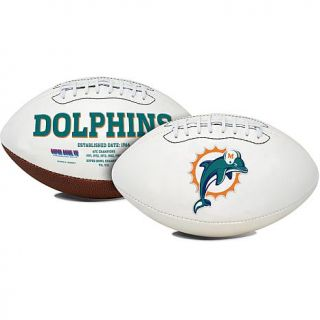 Officially Licensed NFL Full Sized White Panel Football with Autograph Pen by Rawlings   Dolphins   7600964