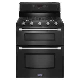Maytag Gemini 30 in 5 Burner 3.9 cu ft/2.1 cu ft Self Cleaning Double Oven Gas Range (Black)