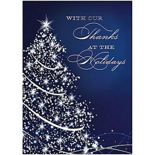 JAM Paper Blank Christmas Holiday Cards Set, Starry Blue Holiday, 25/pack (526M0975WB)