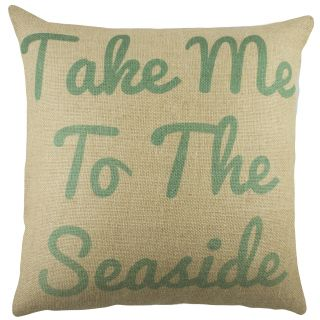 Take me to the Seaside Burlap Throw Pillow by TheWatsonShop