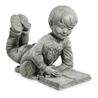 A Boy's Best Friend Garden Statue