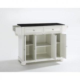 Crosley Alexandria Solid Black Granite Top Kitchen Island   White   7743713