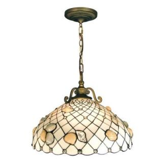 Dale Tiffany Shell 3 Light Hanging Antique Brass Pendant with Art Glass Shade DISCONTINUED TH50007