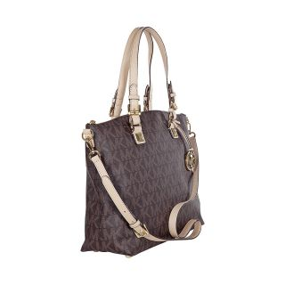 Michael Kors Jet Set Multifunction Brown Logo PVC Tote