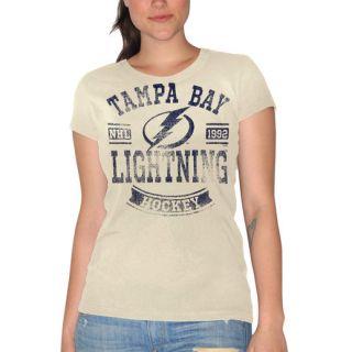 Tampa Bay Lightning Womens First Down Crew T Shirt   Cream