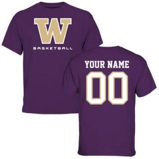 Washington Huskies Personalized Basketball T Shirt   Purple