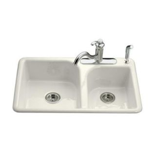 KOHLER Efficiency Top Mount Cast Iron 33 in. 4 Hole Double Bowl Kitchen Sink in Biscuit K 5948 4 96   Mobile