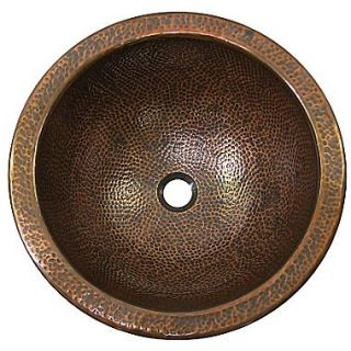 The Copper Factory Large Round Self Rimming Bathroom Sink; Antique Copper