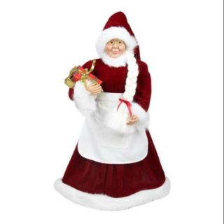 "24"" Standing Mrs. Claus with Braided Hair and Gifts Christmas Figure"