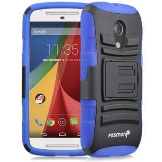 Fosmon Motorola Moto G 2nd Gen 2014 STURDY Shock Absorbing Dual Layer Hybrid Holster Cover Kickstand Case   Blue