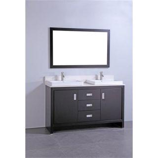 Vanity Art WA6860 60 Solid Wood Sink Vanity in Espresso with Mirror   Vanity Top Included