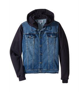 Armani Junior Jacket With Navy Sweat Hood And Sleeves Big Kids Denim
