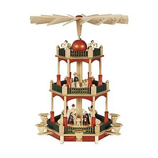 Alexander Taron Richard Glaesser 3 Tier Nativity w/ Stain Finish Pyramid