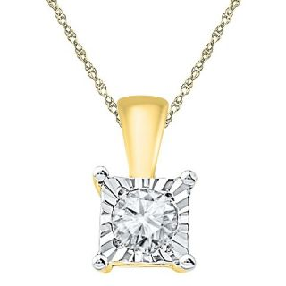 20 CT. T.W. White Diamond Solitaire Pendant in 10K Yellow Gold