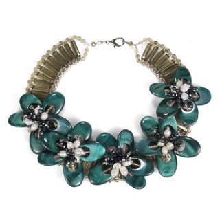 Emerald Green Dyed Mother of Pearl Floral Necklace (Thailand