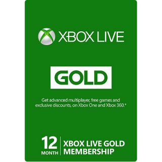 12 Month Xbox Live Gold Membership (Xbox 360 / Xbox One)