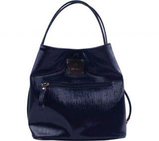Womens J. Renee BU001 Handbag   Navy Faux Crinkle Patent Leather