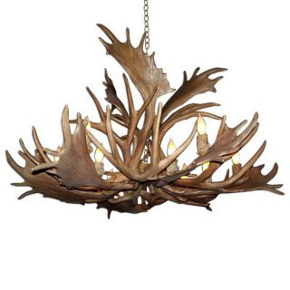 Canadian Antler Design Mule Deer 52 in 12 Light Natural Brown Rustic Abstract Chandelier