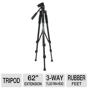 Turbofrog Photo/Video Expandable Tripod   62 Inch, Pan Head with Bubble Level, Adjustable Rubber Feet