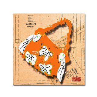 Trademark Fine Art Bow Purse White on Orange by Roderick Stevens