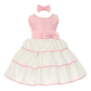 Baby Girls Pink Bow Sash Layered Easter Special Occasion Dress 3 24M